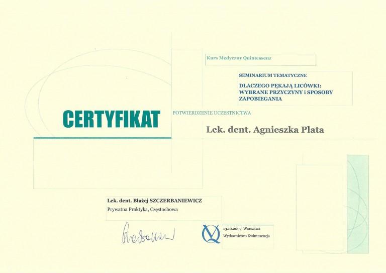 certyfikat-dentysta-agnieszka-plata